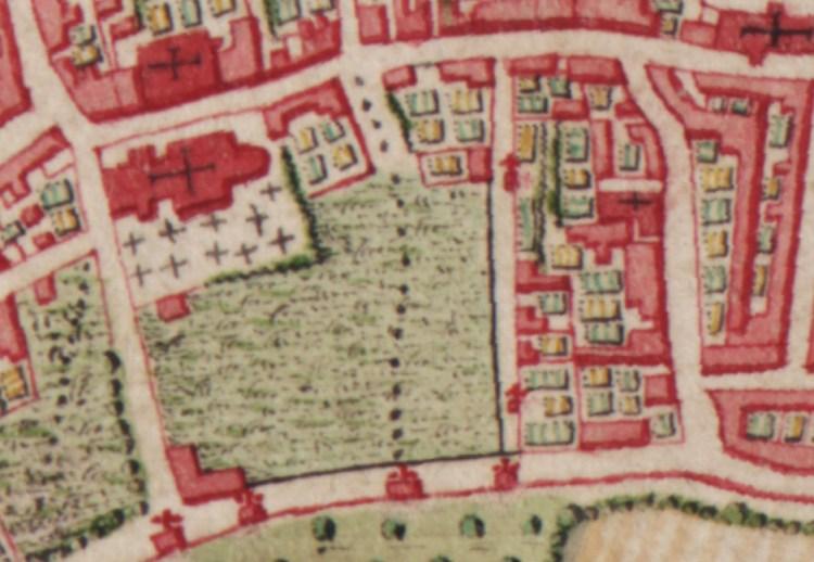 Onze-Lieve-Vrouwekerk op de Ferrariskaart Anno 1777