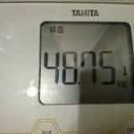 過去最低48kg台到達 !ダイエット342日目の体重体脂肪