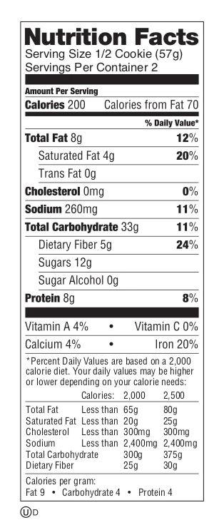 valeur nutrition cookies