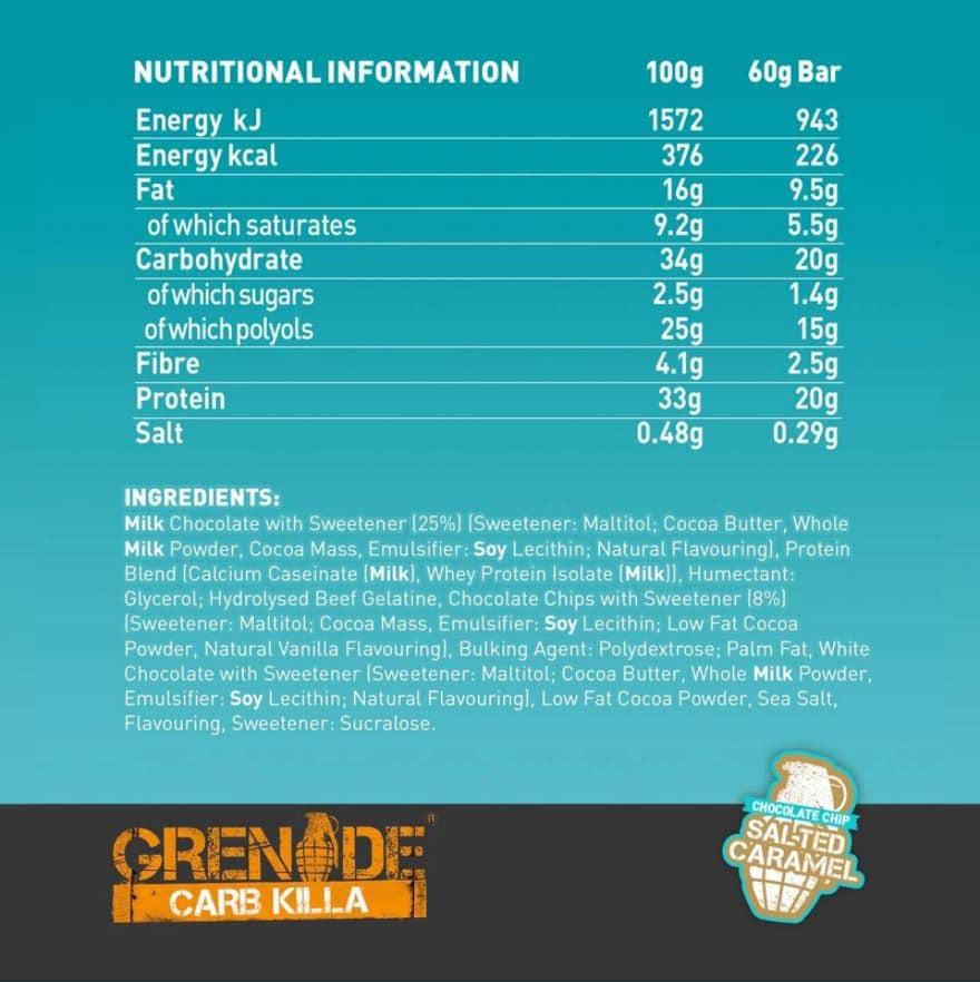 valeur nutrition grenade killa