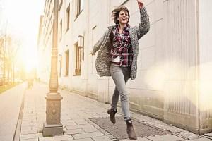 Woman enjoying city street