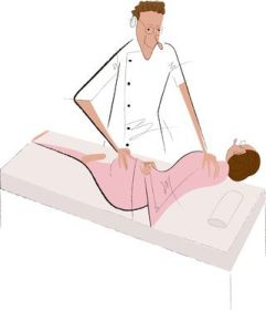 骨盤矯正を受ける女性のイラスト