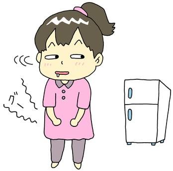 お腹が減って冷蔵庫を眺める女性のイラスト