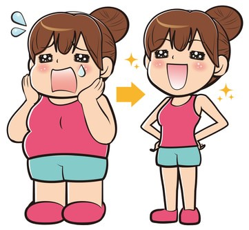 痩せた女性のイラスト