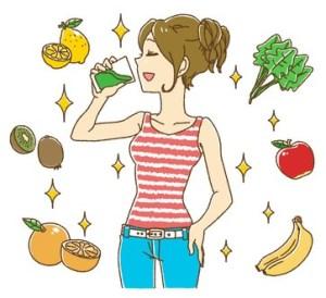 スムージーを飲む女性のイラスト