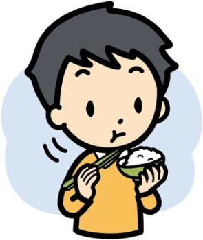 よく噛んで食べている男性のイラスト