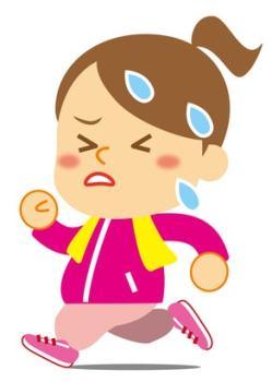 運動で汗をかいて苦しそうな女性のイラスト