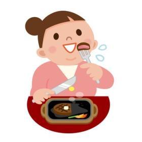 ステーキを頬張る女性のイラスト