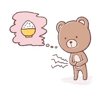 お腹が減ったクマのイラスト