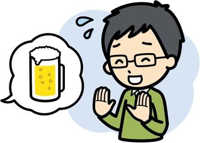ビールを遠慮している男性のイラスト