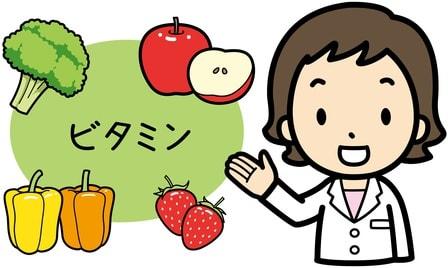 ビタミンを紹介している女性のイラスト