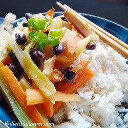 Vegan, vegetarian, plant-based, egg-free, dairy-free, asian easy sesame tofu with black beans meal entree recipe