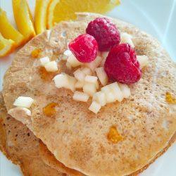 Vegan, vegetarian, plant-based, egg-free, dairy-free, gluten-free, nut-free, breakfast pancake yummy vegan raspberry coconut pancakes recipe