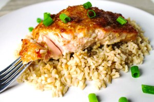Salmon with Teriyaki & Ginger sauce