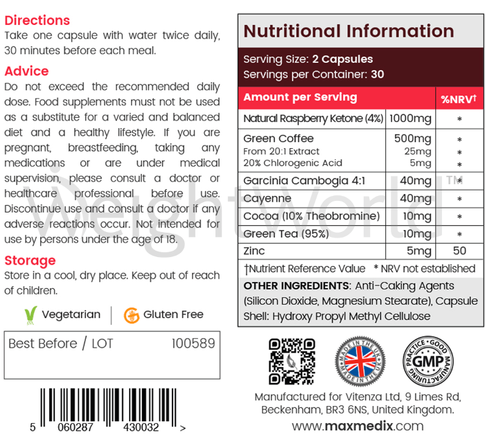 Rasperry Ketone Plus Ingredients