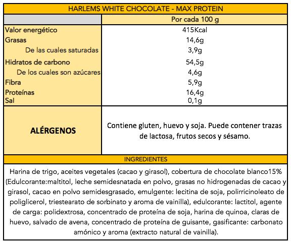 HARLEMS White Chocolate - Información nutricional