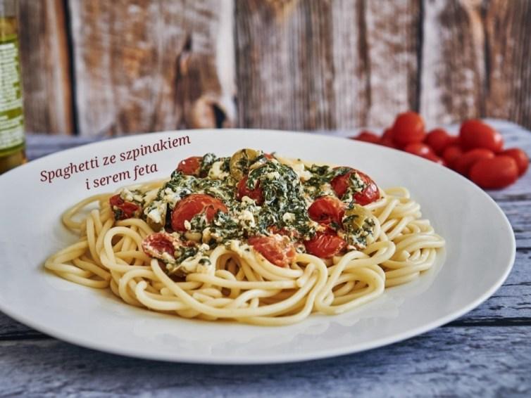 Spaghetti ze szpinakiem i serem feta 🍝