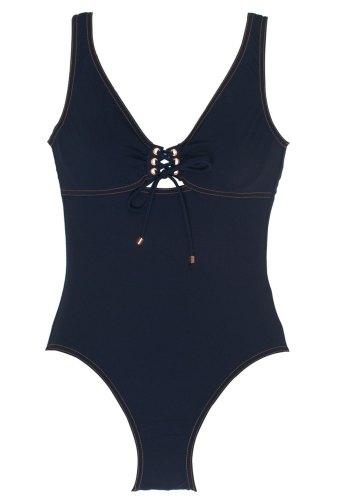 Karla Colletto White Eyelet Navy Swimsuit