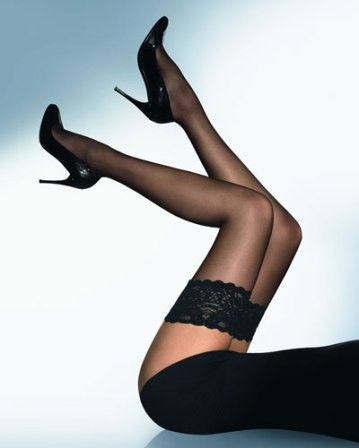 Lace Top Black Thigh Hi Stockings