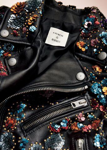 Coach x Rodarte Moto Jacket with Leather Sequins, $3,500 close-up