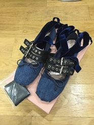 Miu Miu Denim blue velvet strap buckled ballet shoes Spring
