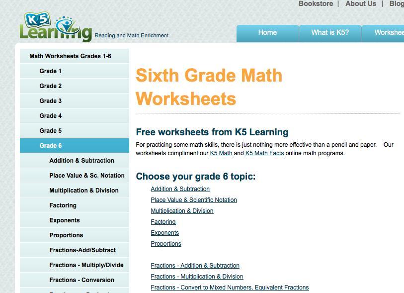 6th Grade Math Worksheets 1