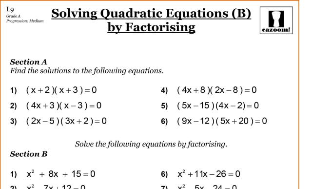 Algebra Worksheets Grade 9