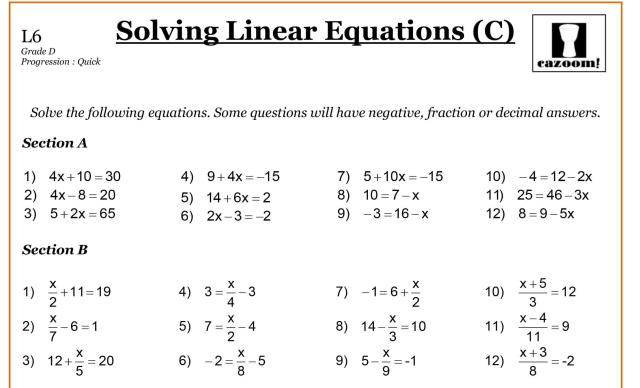 Algebra Worksheets Pdf