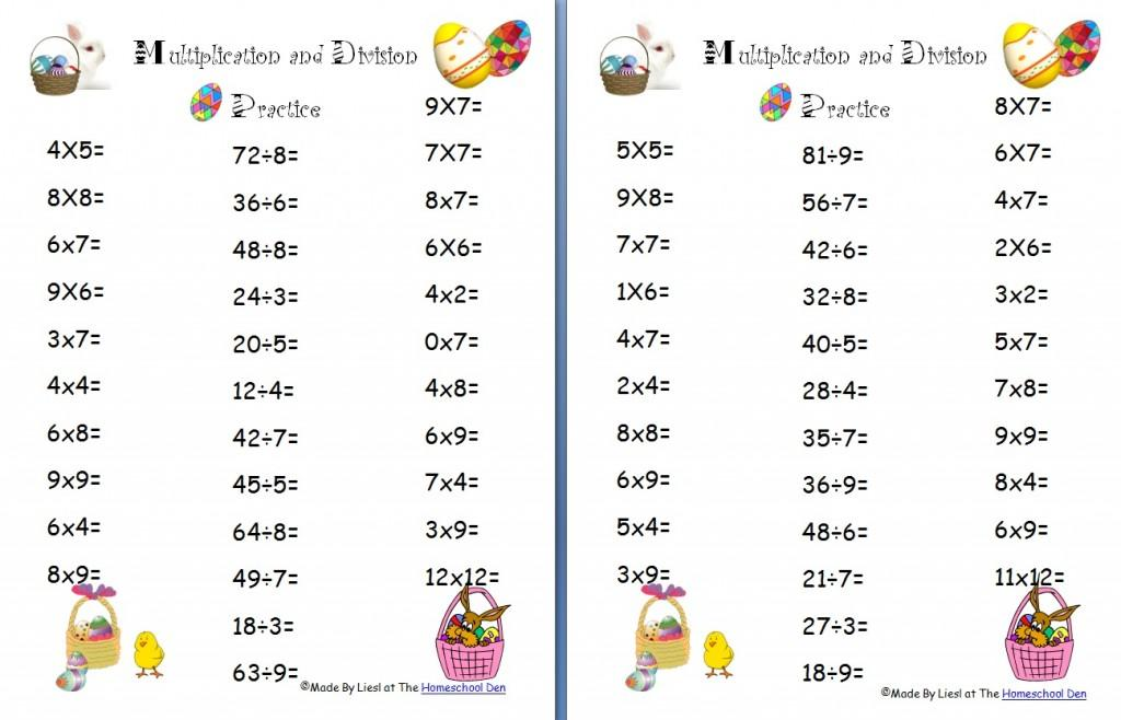 Multiplication Easter Worksheets 1