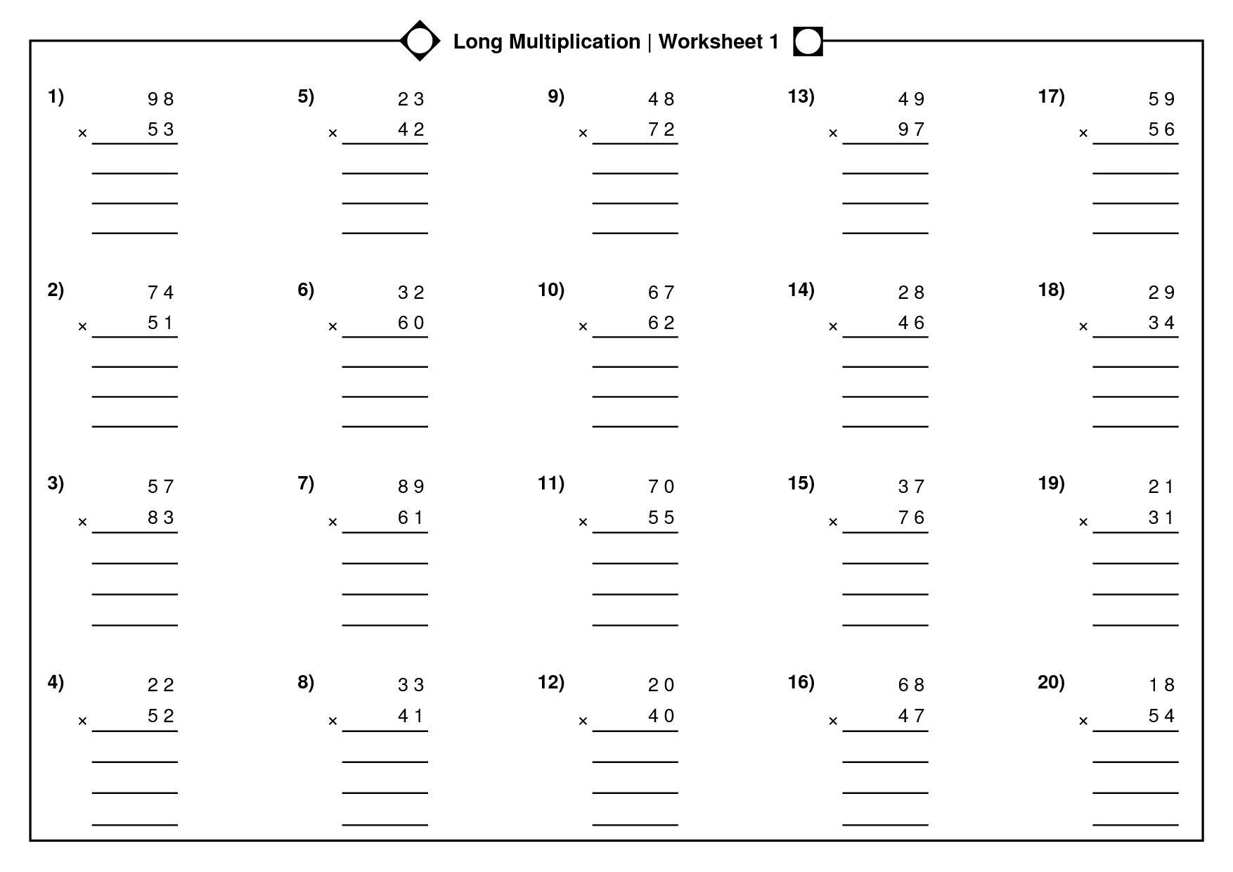 Multiplication Worksheet For Class 5 Cbse
