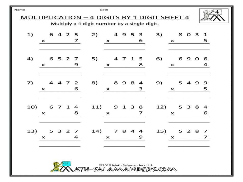Multiplication Worksheets For Grade 4 Printable