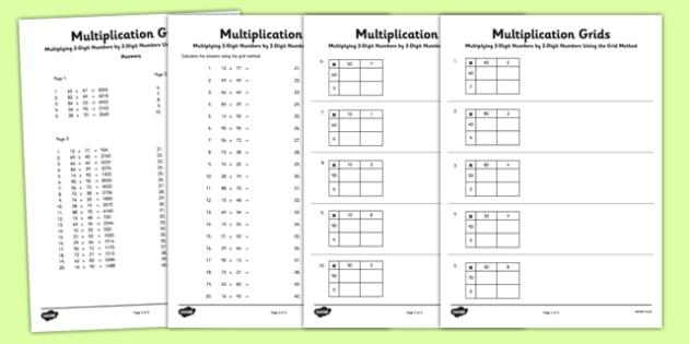 Math Worksheets Two Digit Multiplication