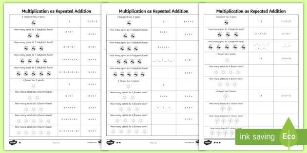 Multiplication As Repeated Addition Worksheets