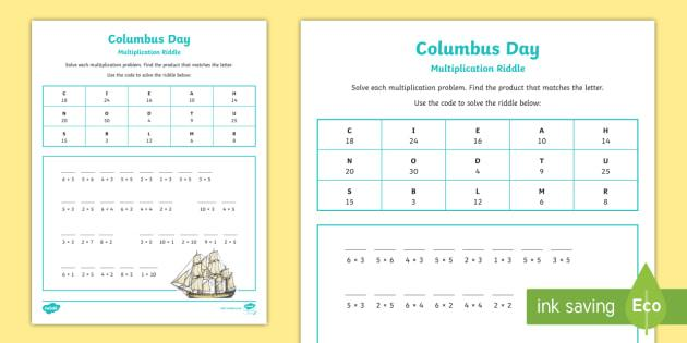 Multiplication Riddle Worksheets 2