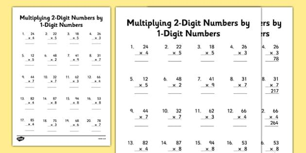 Multiplication Worksheets 2 By 1 Digit