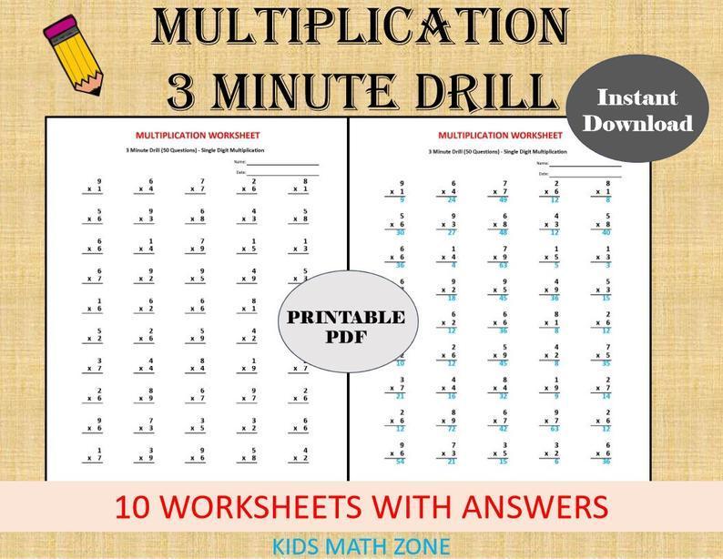 Multiplication Worksheets Minute Drills 2