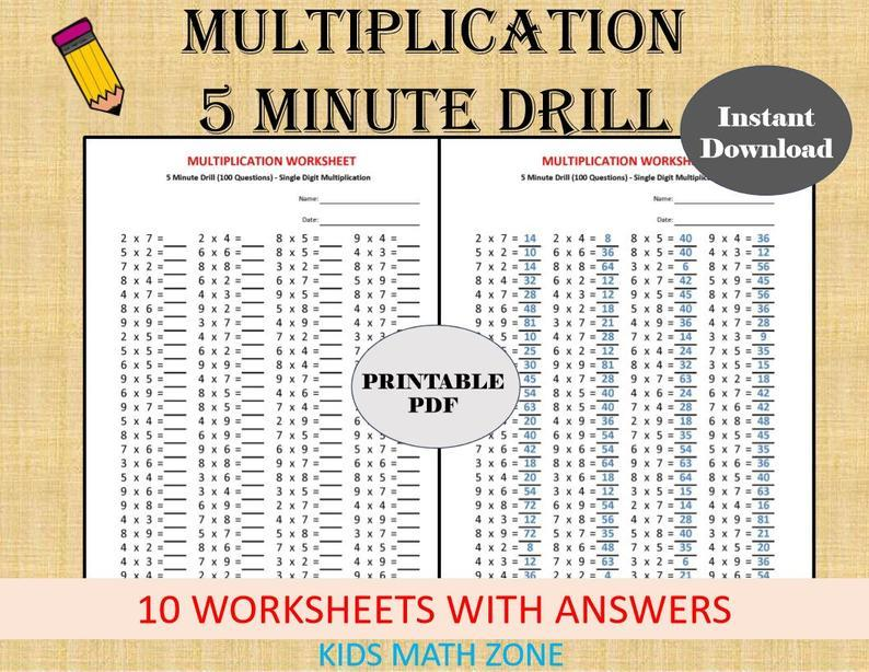 Multiplication Worksheets Minute Drills 7