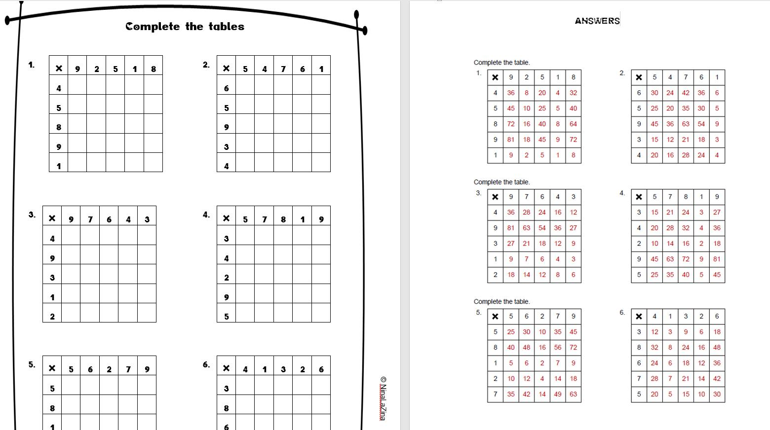Multiplication Worksheets Mixed Times Tables 4