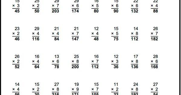 Basic Multiplication Worksheets With Answers