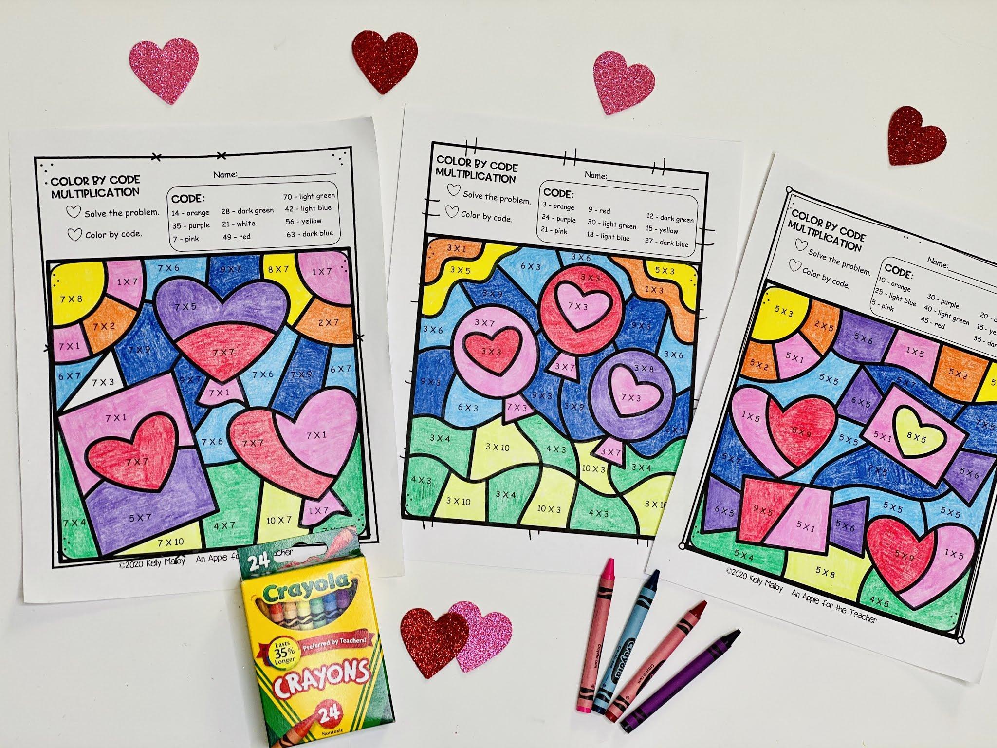 Multiplication Coloring Worksheets Valentine's 5