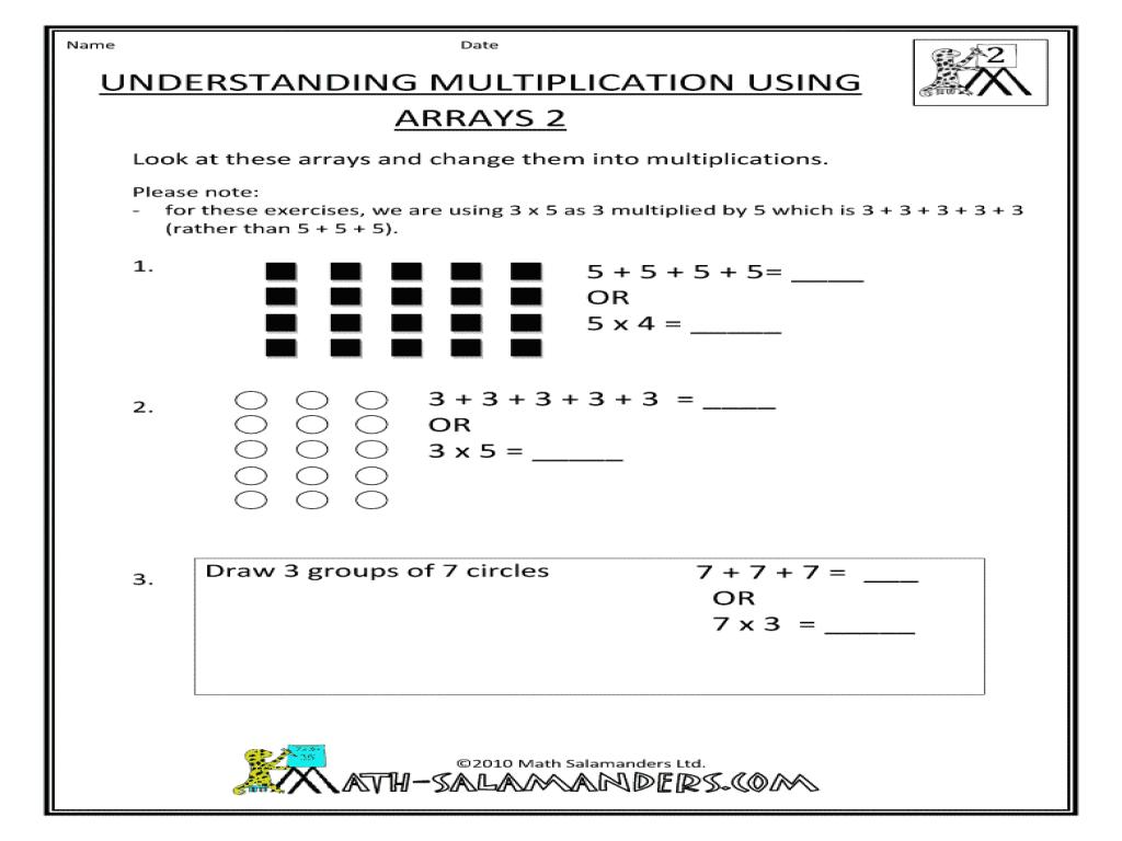 Multiplication Using Arrays Worksheets Pdf