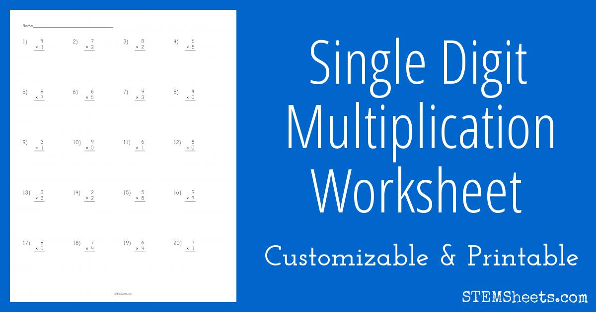 Multiplication Vertical Worksheets Answer Key 1