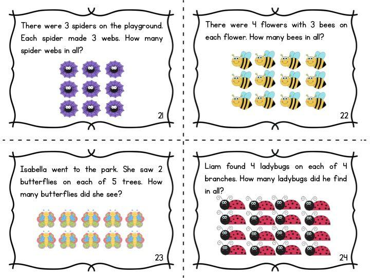 Multiplication Word Problems Using Arrays Worksheets