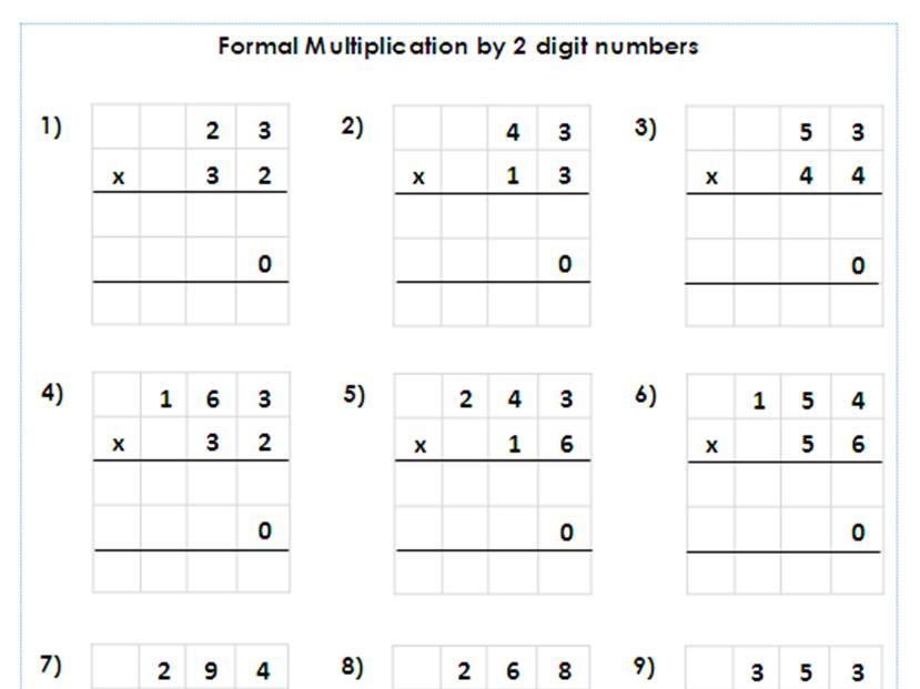 Multiplication Worksheets Grade 5 3 Digit By 2 Digit