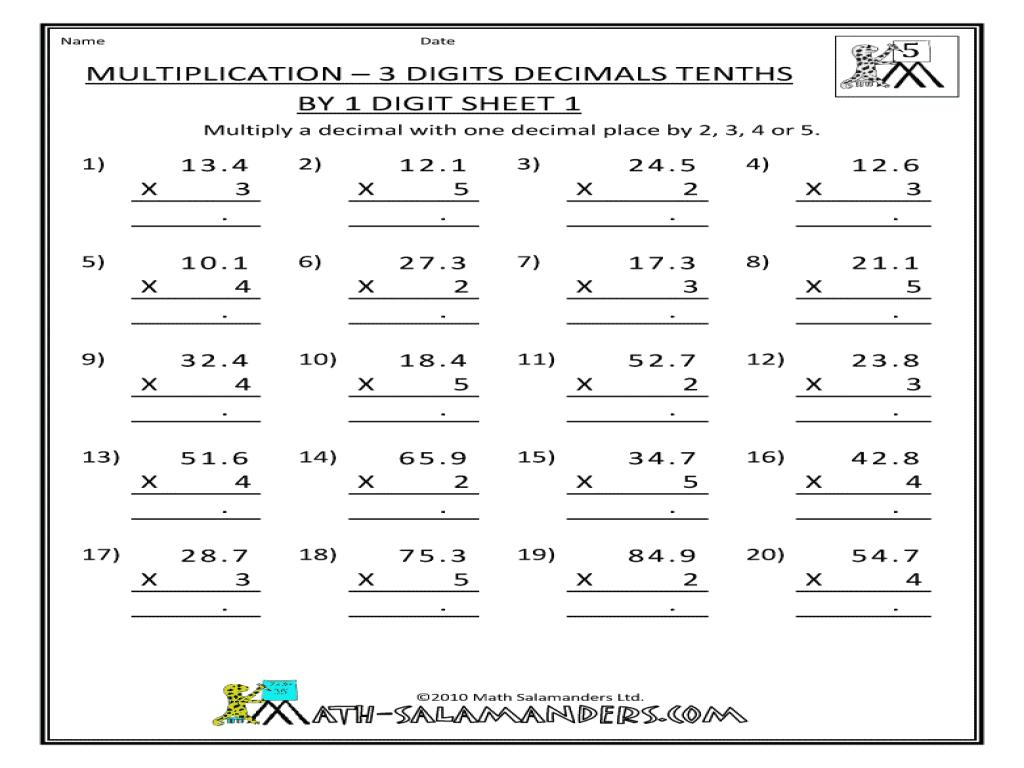 Multiplication Worksheets Three Digit By Two Digit 1