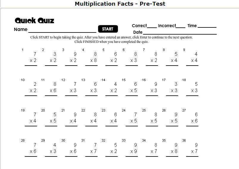 Multiplication Worksheets Timed 1
