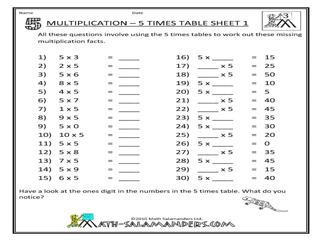Multiplication Worksheets Up To 5 1