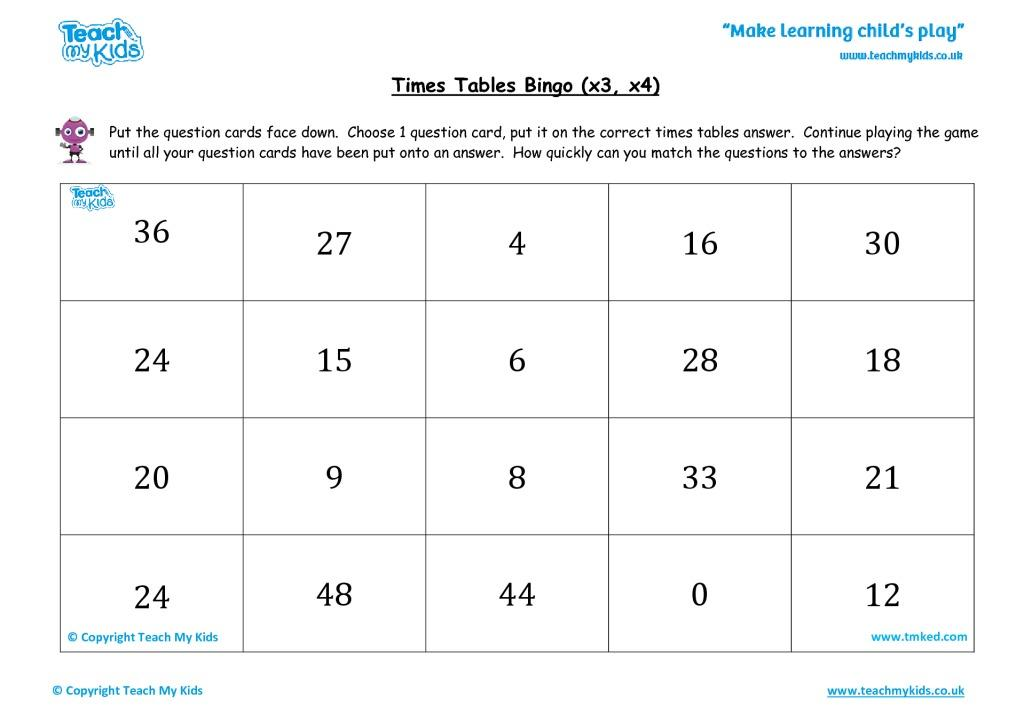 Multiplication Worksheets X3 And X4