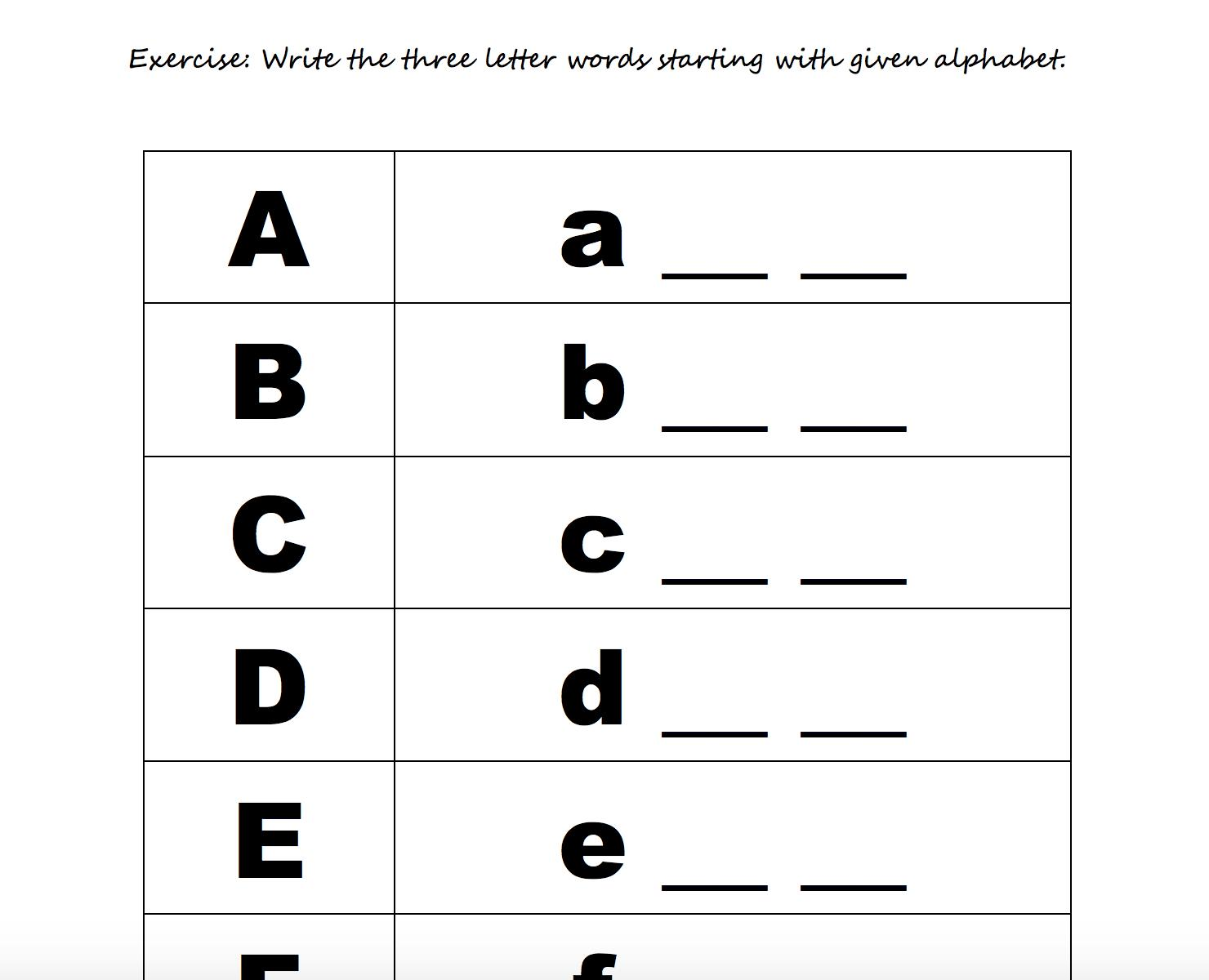 Preschool English Worksheets Free Printable