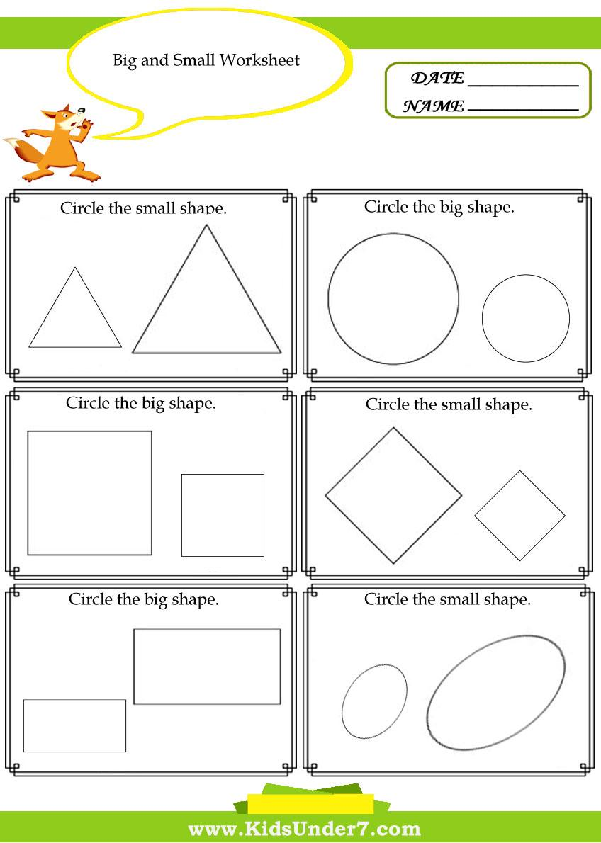 Big And Small Worksheets For Preschool Pdf